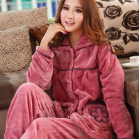 New arrival winter coral fleece sleepwear female thickening flannel sleepwear women's long sleeve length pants set lounge set