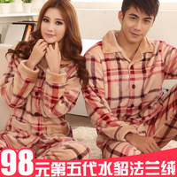 Autumn and winter thickening plus size coral fleece lovers sleepwear long-sleeve plaid flannel sleepwear set lounge