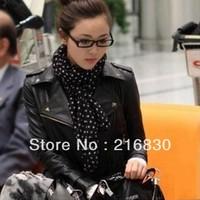 2014 Fashion Apricot /Beige Ladies&Women Lapel Rivets PU Faux Leather Jackets Zipper Biker Motorcycle Coats Outerwear