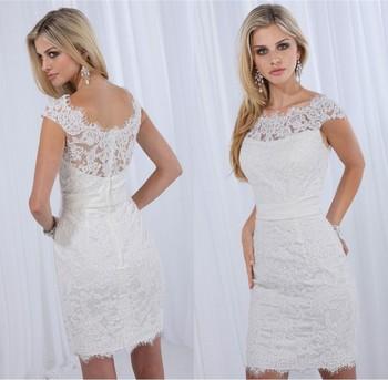 Vestidos de noivas casamento 2014 Sexy Sheath White lace Short wedding dress Knee length with Cap sleeves bride dress Custom