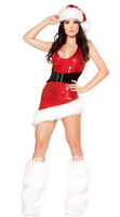 Free shipping 2013 white Christmas Costume Fashion Women Santa Claus Costume sm88717