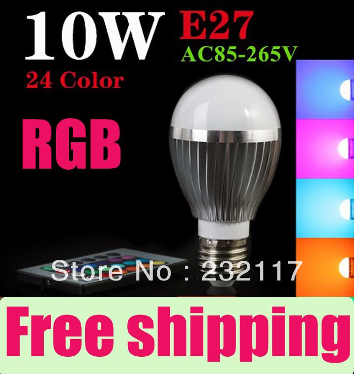 Wholesale 100 pcs/lot High Quality E27,10w LED Bulb Lamp 24 Key16 Color Remote Control 85-245V RGB LED Lamp Free shipping(China (Mainland))