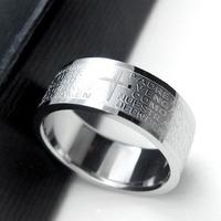 Aidan,Couples Rings Men's Rings Wu Zun favorite Bible Lord's Prayer Cross titanium steel ring / ring