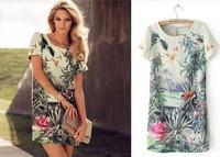 Casual 2014 Elegant Women Short Sleeve Dress Ladies' Printing Dresses Vintage Bird Landscape Floral Lady Summer Mini Dresses