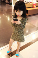 2014 Summer New Arrival Branded Leopard Pattern Cotton Girl's Dress Girls princess t shirt style dress  Clothes Free Shipping