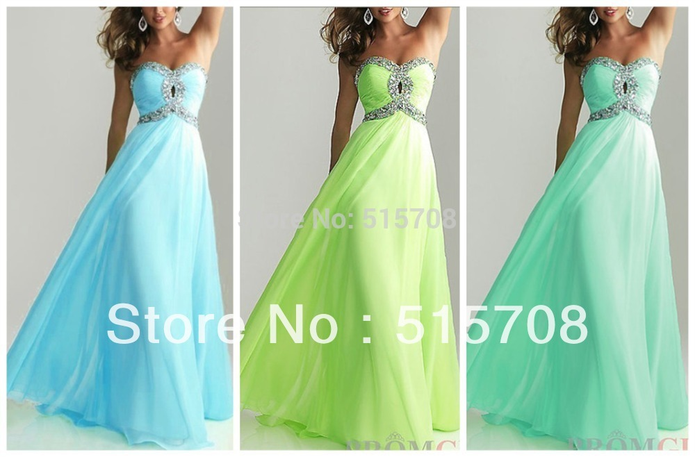 Free Shipping 2013 New Design Strapless Floor Length Chiffon Cheap Formal Pageant Party Evening Gowns Long Prom Dresses(China (Mainland))