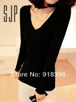 Free shipping 2013 Fashion trendy women clothes Tops Tees, Long sleeve T shirt , Solid color Slim T-shirts 4 Colors Sizes s,m
