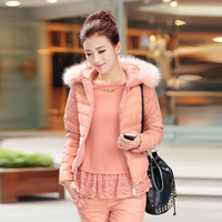 2013 winter with a hood wool collar set slim piece set thin female down coat outerwear
