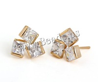 Free shipping!!!Brass Stud Earring,Elegant, 18K gold plated, with cubic zirconia, nickel, lead & cadmium free, 13mm