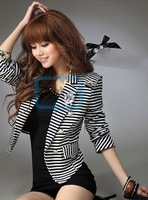 Striped Pattern Women and Girls Crop Coat Jacket Tops Leisure Suit With Corsage