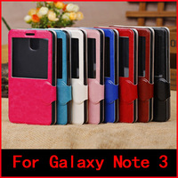 New View Window Crystal material PU Leather With stand Case For Samsung Galaxy Note 3 Note3 N9000 N9005 Case