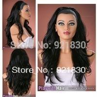 Imitate Human made hair no lace Wine natural Kanekalon STUNNING Dark Brown black 3/4 Fall HairPiece Long Layered 3/4 Half Wig