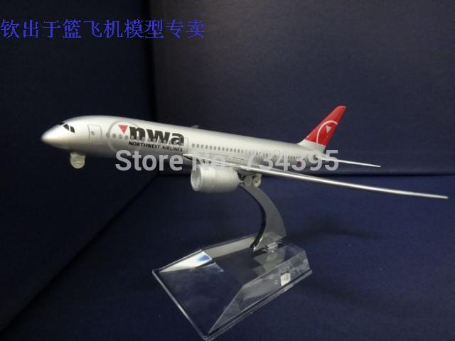 16cm aircraft model Boeing B787nwa Northwest Airlines alloy dietransport plane gifts souvenir adult puzzle toys for children(China (Mainland))