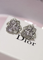 Koko camellia diamond anti-allergic full rhinestone three-dimensional flower stud earring
