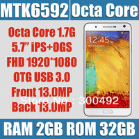galaxy note 3 mtk6592 phone octa core 2gb ram 32gb rom 5.7 inch ips ogs fhd 1920*1080px dual 13mp camera otg usb 3.0