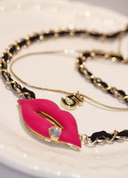 koko / big lips luxury multi fluorescent color diamond necklace Korean long paragraph sweater chain accessories Leather