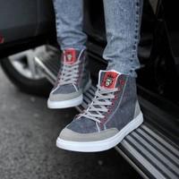 Male high canvas shoes hip-hop shoes flat shoes casual shoes denim shoes