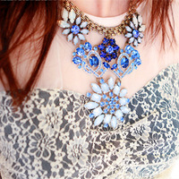 Free Shipping HQ Big Brand Fashion Showy Blue&White Crystal Gem Flower Classic Chokers Necklaces Exquisite Jewelry For Woman