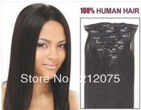 """12""""-26inches 7pieces/set Mix length Brazilian virgin straight  human hair Clip in  Extensions  3sets/lot Free shipping"""