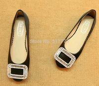 2013 flat heel wedding shoes female suit shoes single shoes side buckle rhinestone plus size women's shoes 34