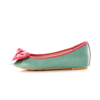 2013 autumn and winter single  female round toe flat heel flower bow genuine leather plus size women's  ladle shoes 34