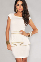 2013 New Arrival Fashion Women Elegant Gold Edge Peplum Dress, OL Dress Back/Beige Colors