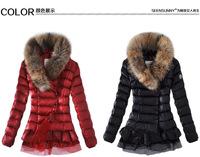2014 Fashion Male down coat Winter Rabiit fur  r fashion women duck down  jacket  thickening White duck geniune raccoon fur cap