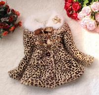 2015 Winter Warm Faux Fur Leopard Classic Kids Girl Jacket Snowsuit Cotton Blend Turn-down Collar Button Decoration Coats Girl