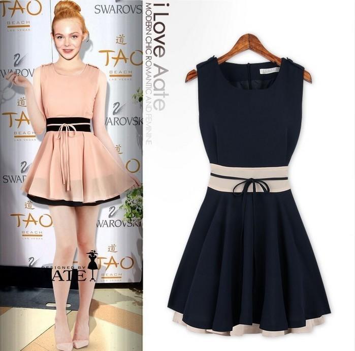 Free shipping Fashion color block decoration slim waist short design one-piece dress drop shipping(China (Mainland))