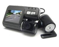 OEM Neutral TX135 2.0TFT 3.0MP 4-LED IR Night Vision Dual Lens Car DVR Camcorder (With Remote Control)- Dark Grey
