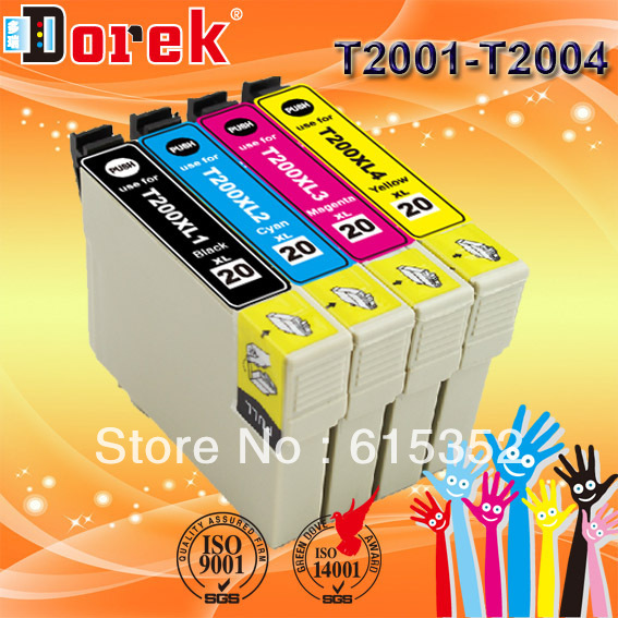 5 sets/lot (20pcs) ink cartridge for XP 200 300 400 WF 2520 2530 T 200XL1 - T 200XL4, T 2001 - T 2004free shipping(China (Mainland))