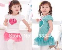 retail  new 2014 Baby Girl's clothing Kids Summer short Sleeve  Heart 3D Flower Princess Dress Teenage Lace Skirts pink blue
