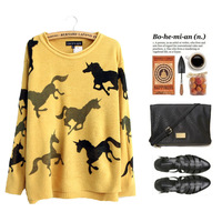 Korean version of the new autumn and winter 2013 women's loose round neck raglan sleeve printed pony wild knit sweater pullover