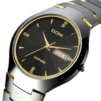 2014 trend Dom male watch double calendar tungsten steel vintage rhinestone waterproof business casual quartz mens watch