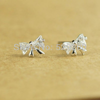 FREE SHIPPING Fashion Thai Pure Silver Korean Design Cute Stud Earrings Fresh Sweet Shiny Zircon Earrings Bowknot Stud Earrings
