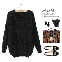 The new autumn and winter women's college colored dots lovely ladies were thin long-sleeved sweater Korean version of the wild