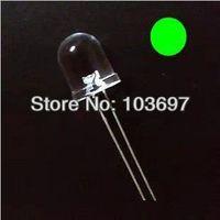 100pcs/Lot New 10mm Round  Green Super Bright LED Lamp+200 Resistors(220R&470R)