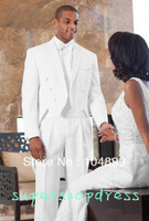 Six button White (jacket+vest+ pants + bow tie) tail Groom Tuxedos Custom made