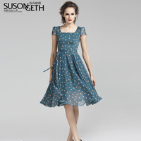 2013 square collar short-sleeve slim short design polka dot chiffon one-piece dress lyq-743