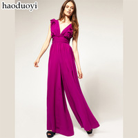 Fashion  chiffon one-piece dress pants female high quality elegant hoodies jumpsuit