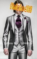 Korea-Satin Bright Silver With Black Brim Man Groom Tuxedos Wedding Suits Prom/Formal Suit (Jacket+Pants+Vest+Tie+Square)