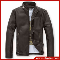 New arrival men's clothing Casual slim motorcycle leather Jackets male Pu leather Turtleneck jacket outerwear Asia S-XXL D072