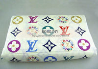 FREE SHIPPING,vintage colorful letter and floral  printed 100%cotton fabric  for DIY,size 160cm*100cm,B20131297,BOBODIY