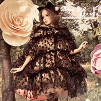 Magic large dolls winter black polka dot big hat ruffle batwing sleeve down coat