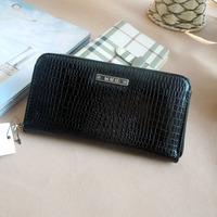 Mango new clutch 2014 long wallet black crocodile pattern bag free shipping