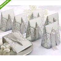 Free shipping 100pcs Silver Ribbon Wedding Favor Candy Boxes Silver Wedding Party Gift Box Personalized Xmas Candy Box