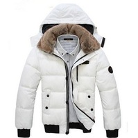 Fashion Men's winter Hoodies quilted overcoat cotton-padded jacket hooded outerwear warm Fur Collar puffer down coat M-XXXL