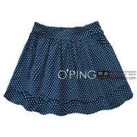 Fashion vintage preppy style polka dot pocket elastic waist small sheds bust skirt short skirt plus size 2c17