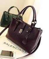 Female bags 2013 fashion cowhide handbag woven bag shoulder bag large bag cross-body