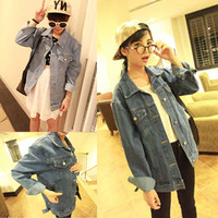 Autumn and winter women's top loose denim outerwear female plus size casual female autumn school wear